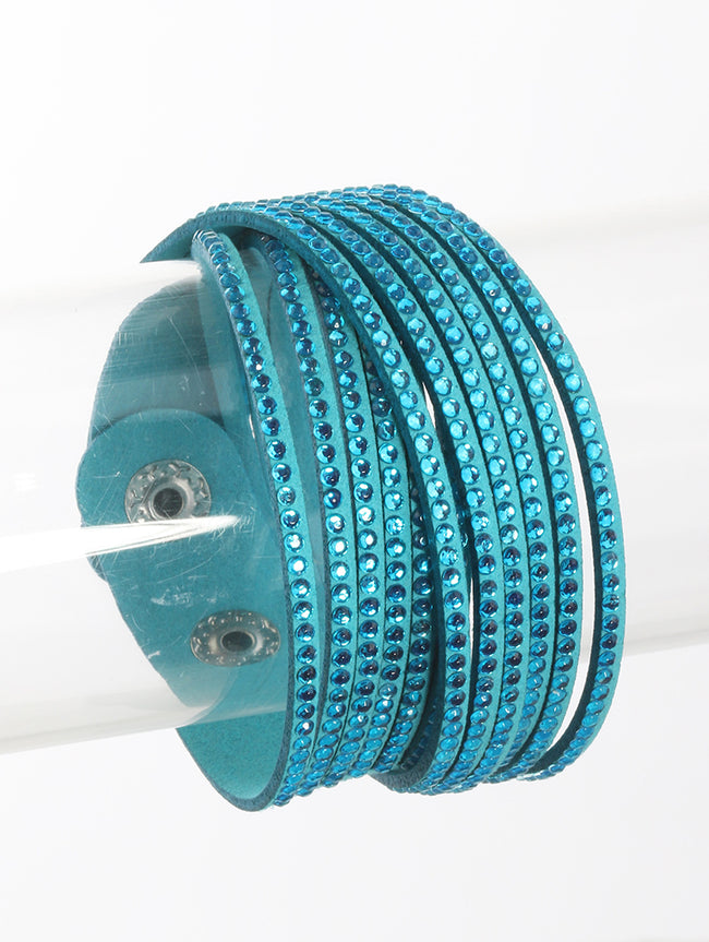 Aqua Blue Multi Strand Faux Suede Band Wraparound Fashion Bracelet - DGB11001BLAQA