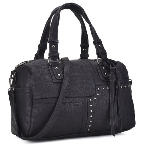 Dasein® Soft Faux Leather Satchel with patch and studs design and decorative tassels