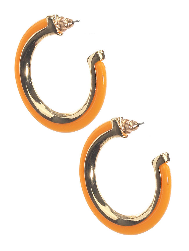 Yellow Acrylic And Metal Hoop Fashion Earring - MME2586435GDMYYEW