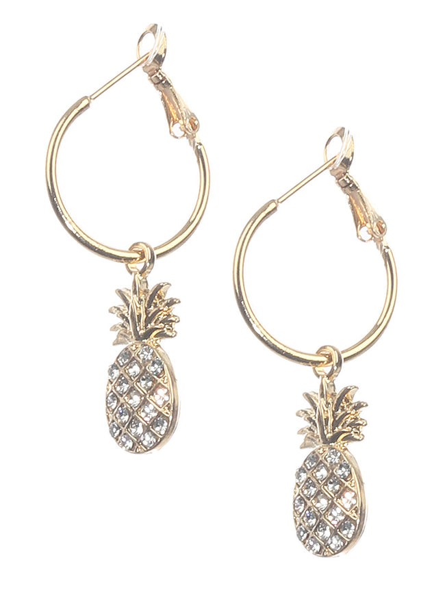 Clear Pave Crystal Stone Metal Pineapple Charm Fashion Earring - MME25927GDCLR