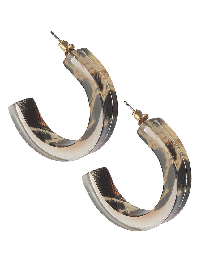 Brown Animal Leopard Print Acrylic Hoop Fashion Earring - BUE2933BRO