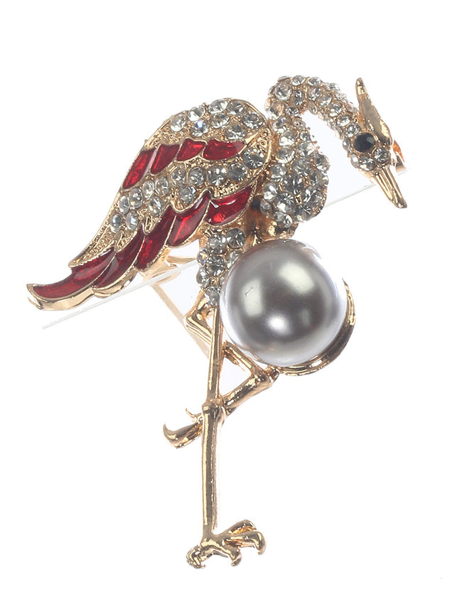 Mulit Color Bird Crystal Stone Fashion Pin And Brooch - MMP31392GDMLT