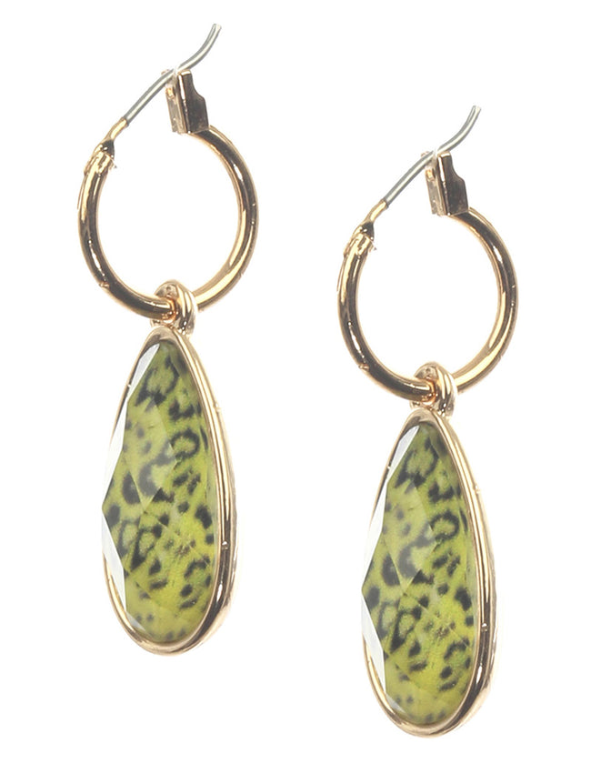 Mulit Color Faceted Translucent Oval Stone Charm Fashion Earring - MME26128GDPEMLT