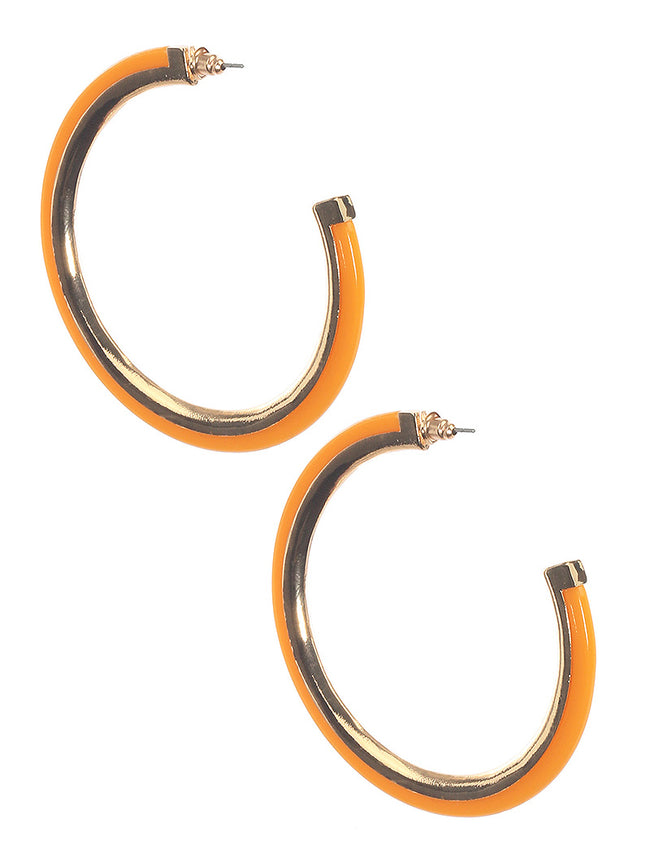 Yellow Acrylic And Metal Hoop Fashion Earring - MME2586460GDMYYEW