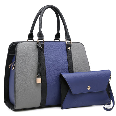 Dasein two tone Medium Satchel with  Hanging Padlock Deco and Matching Wristlet