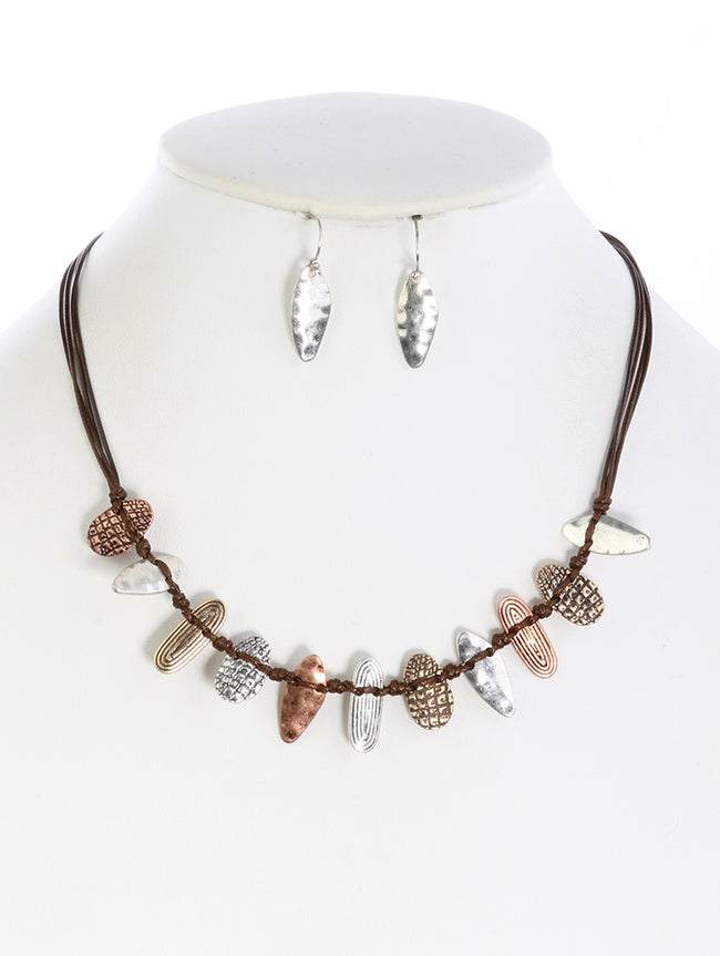 Brown Aged Finish Metal Multi Cord Strand Fashion Necklace And Earring Set - DGS14071THBRO