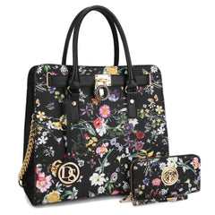 Dasein Large Flower Print Satchel with Matching Wallet