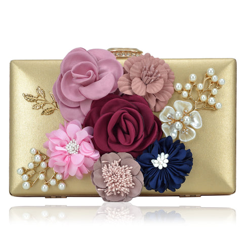 Frame Evening Clutch with Satin Flower Patch, Capiz Flowers and Beads and Top Snap Closure