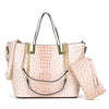 Image of Ostrich embossed Large Classic Tote with Free Matching Wallet