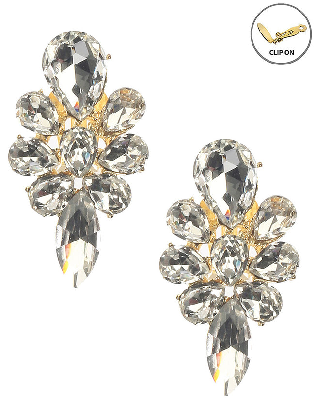 Clear Crystal Stone Cluster Clip On Fashion Earring - MME26165CEGDCLR
