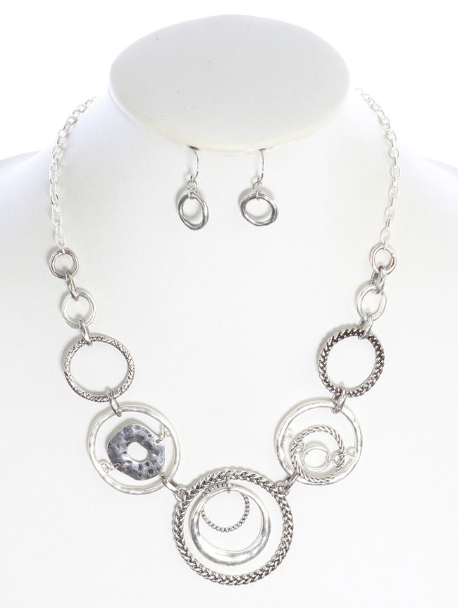 Sliver Metal Casting Hammered Forged Metal Finished Fashion Necklace And Earring Set - PTS126523SOSIV