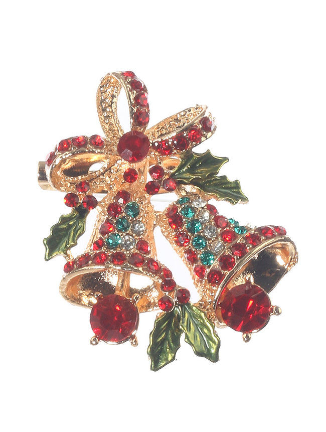 Mulit Color Christmas Bell Ornament Fashion Pin And Brooch - MMP31419GDMLT