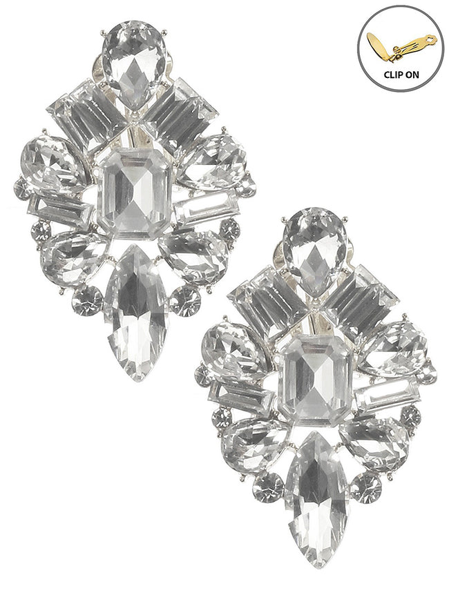 Clear Crystal Stone Cluster Clip On Fashion Earring - MME26170CERDCLR