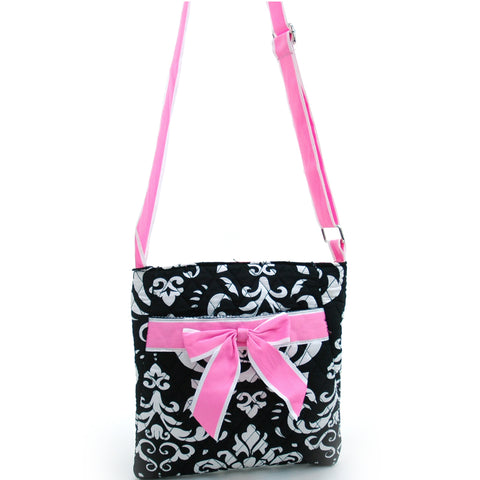 Quatrefoil Print Quilted Messenger Bag