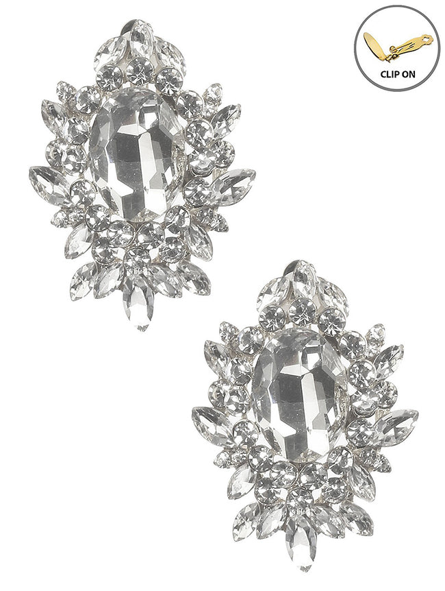 Clear Crystal Stone Cluster Clip On Fashion Earring - MME26176CERDCLR