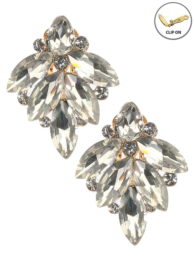 Clear Crystal Stone Cluster Clip On Fashion Earring - MME26169CEGDCLR