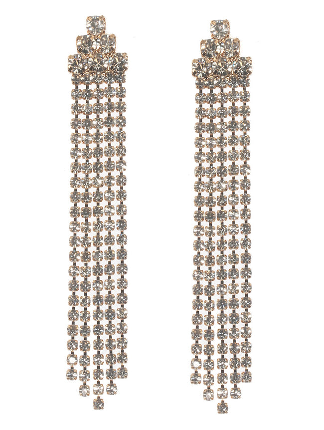 Clear Rhinestone Chain Fringe Fashion Earring - MME26283GDCLR