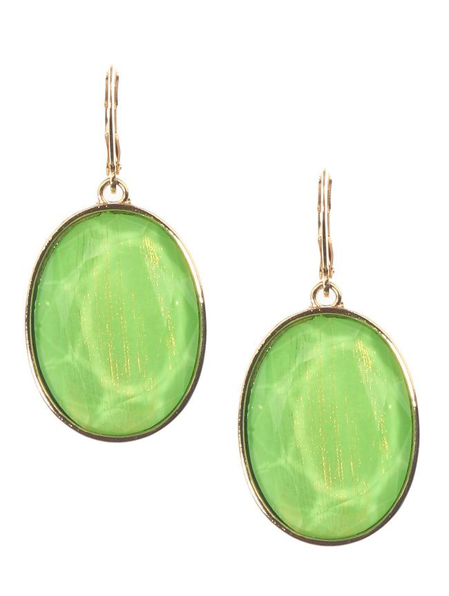Green Faceted Translucent Oval Stone Charm Fashion Earring - MME26279GDPEGRN