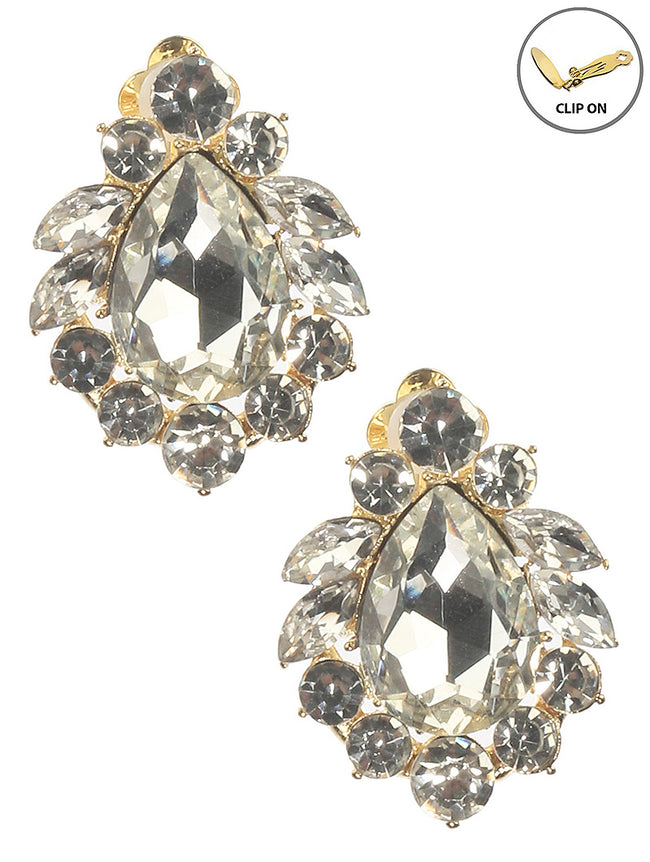 Clear Crystal Stone Cluster Teardrop Clip On Fashion Earring - MME26182CEGDCLR