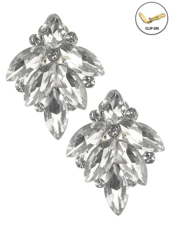 Clear Crystal Stone Cluster Clip On Fashion Earring - MME26169CERDCLR
