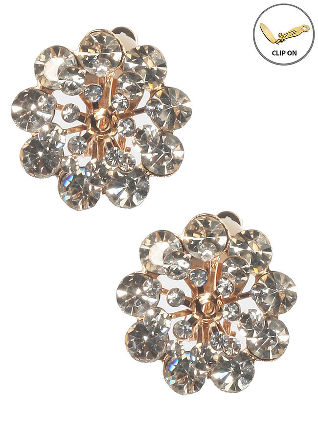 Clear Crystal Stone Cluster Clip On Fashion Earring - MME25762CEGDCLR