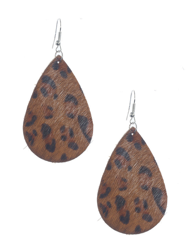 Brown Fish Hook Animal Print Fashion Earring - MME26534RDBRO