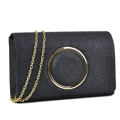 Glitter Frosted Evening Clutch with Removable Chain Strap
