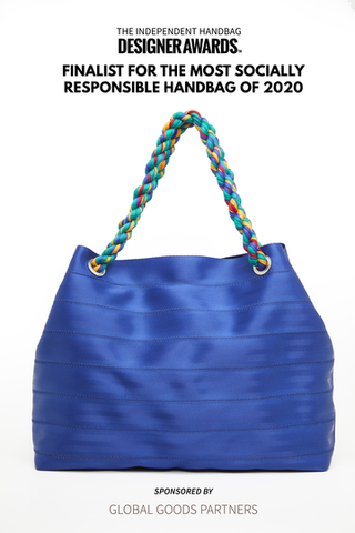Recycled Seat belt boho handbag nominated for Handbag Design awards in New York by From Belo