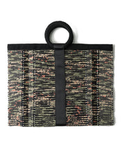 From Belo Hand Woven recycled Fabric pink, black and Green Tote Bag with circle Handle