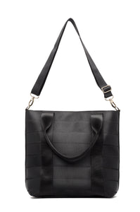 Large Black sustainable Seat belt Tote Bag, From Belo