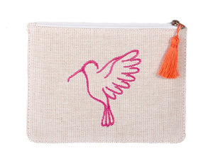 cream and pink Small Recycled Plastic Makeup Pouch Bag - From Belo
