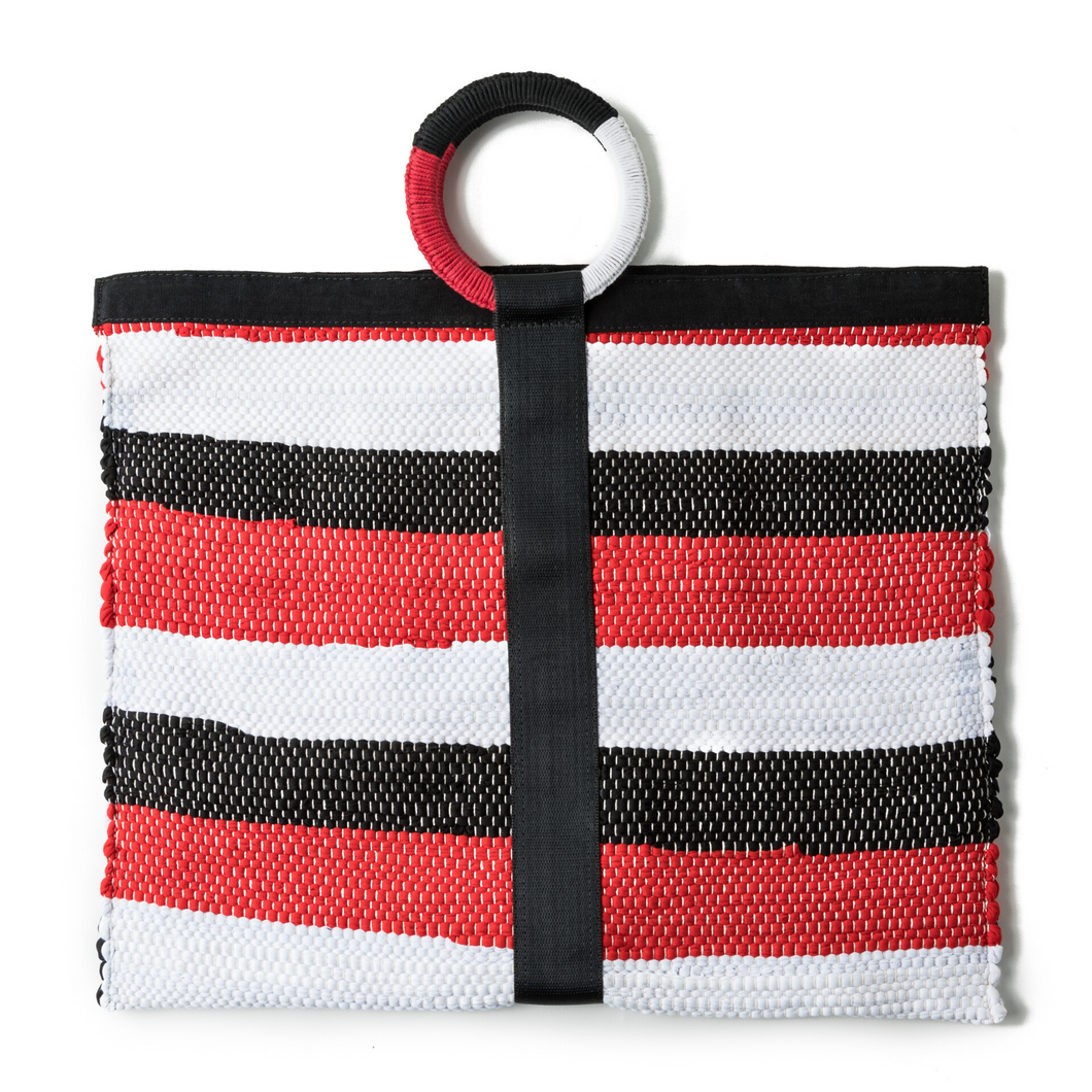 From Belo Red, Black Handwoven Recycled Fabric Tote Bag with Hoop Handle
