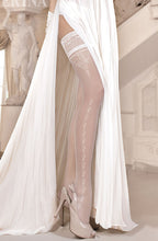 beautiful ivory bridal hold up stockings with delicate pattern, Ballerina brand