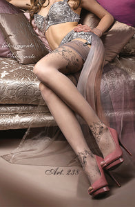 smoke grey colour sexy hold ups with patterned ankles by ballerina