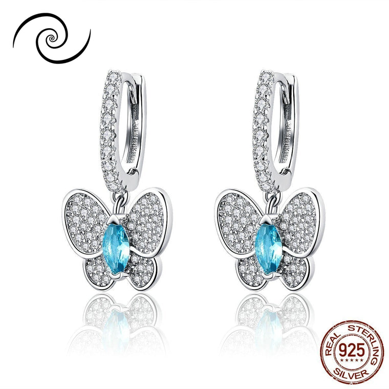 Blue Eyes Butterfly Earrings