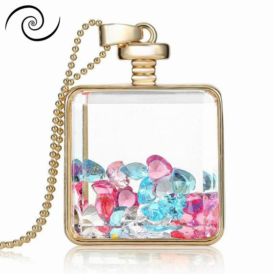Colorful Gem Glass Box Necklace