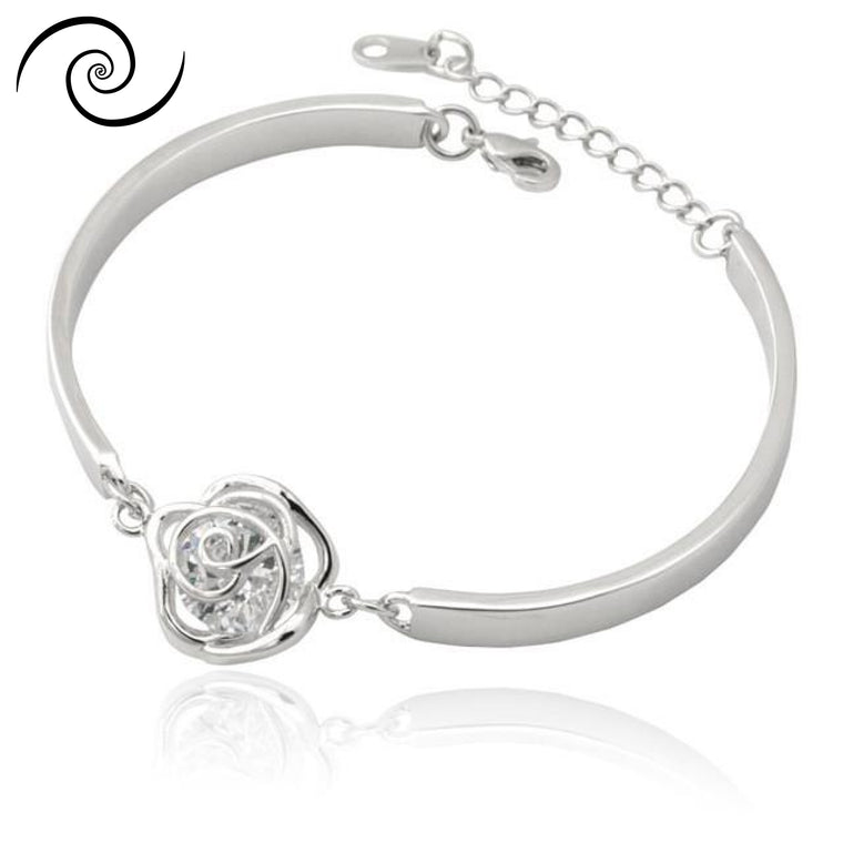 Diamond Rose Bracelet Platinum Plated