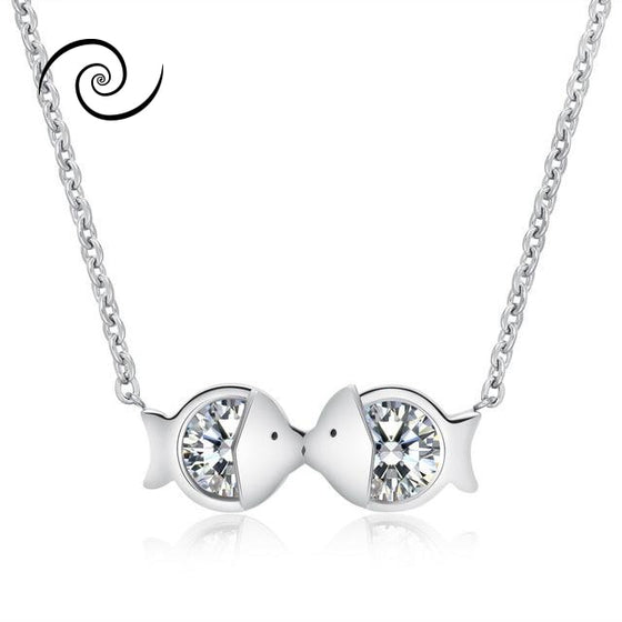 Show The Love With A Kiss Necklace Silver Color
