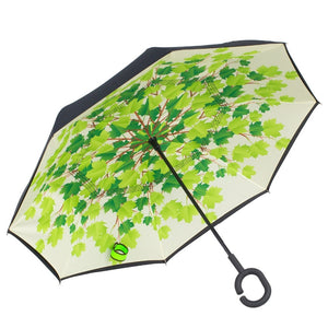 Inverted Umbrella by Satchpro, Reverse Open Windproof Umbrella with C-Shaped Handle & Carrying Case