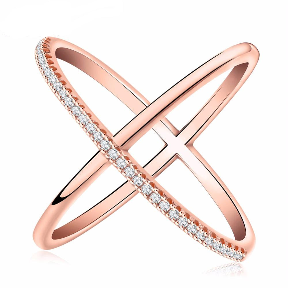 Popular Cross Infinity Ring with Velvet Pouch - Nickel and Lead Free (Rose Gold or Silver)
