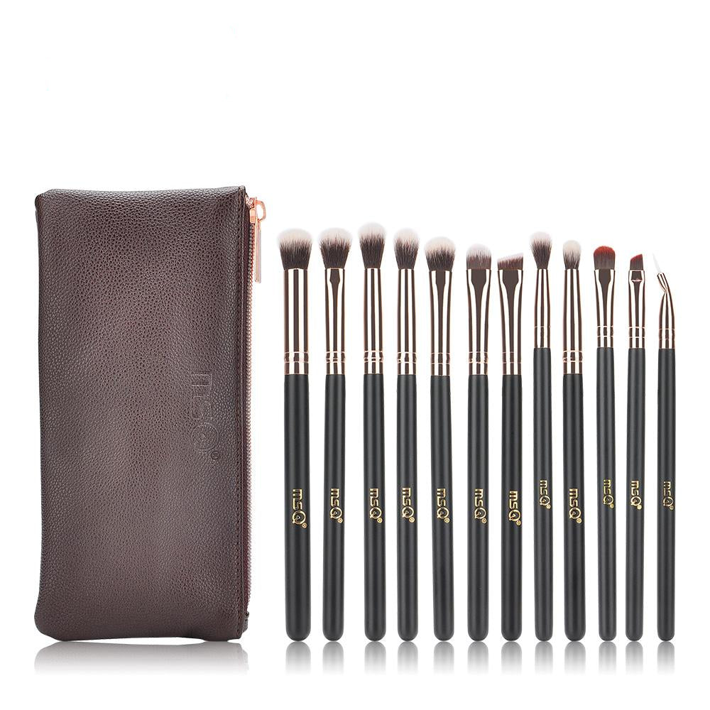 12 Piece Professional Makeup Brush Kit with Leather Case