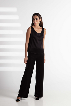 SILK PANTS BASIC BLACK