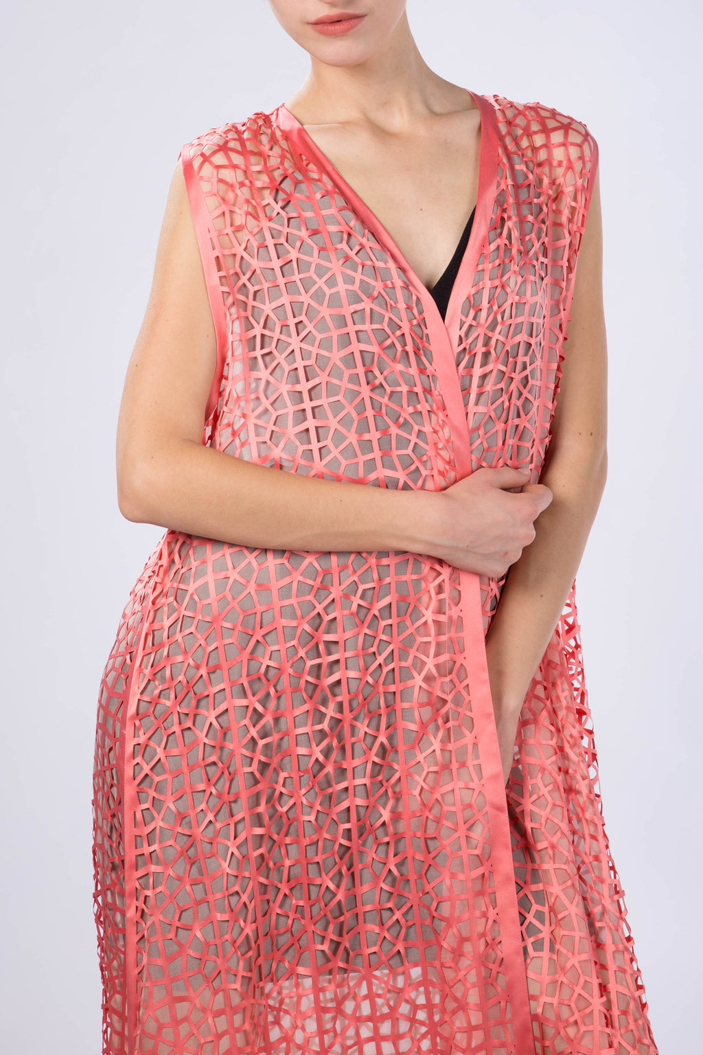 "Kaftan without sleeves ""Light Modern Vitrage"", Salmon Orange"