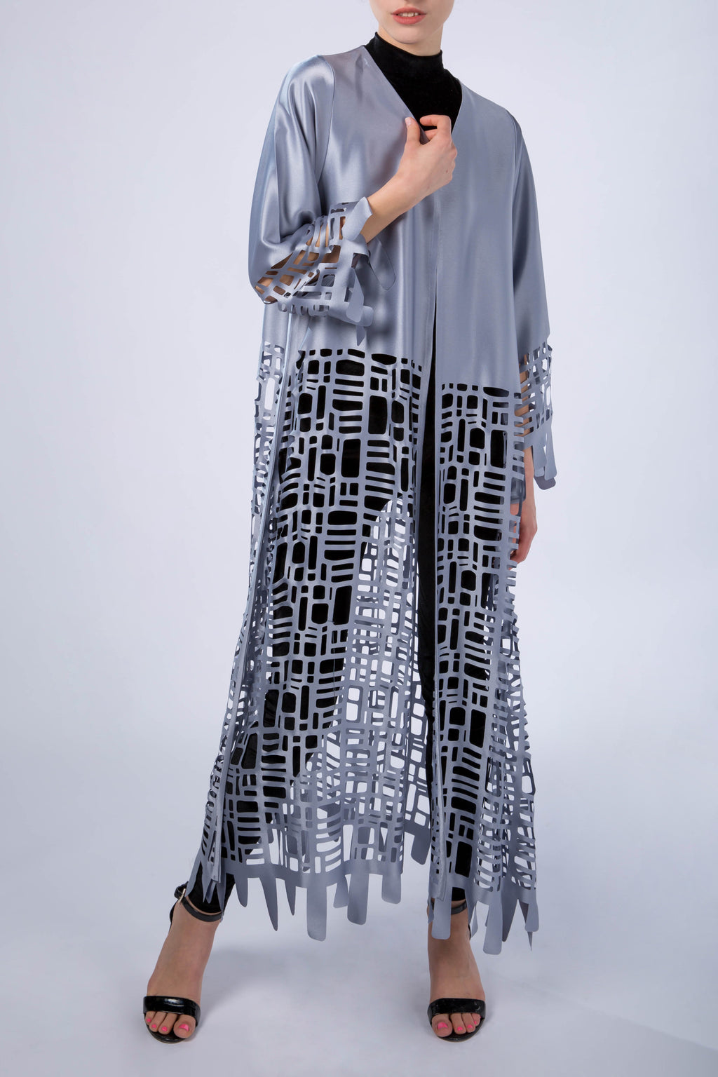 Kaftan with sleeves, abaya, Melting Silver, front view