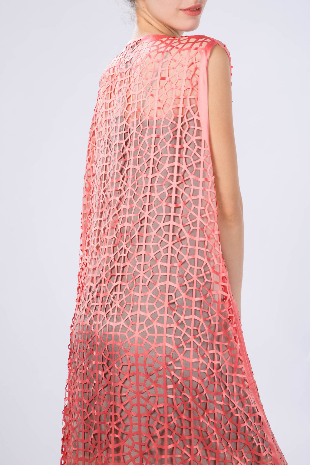 "Kaftan without sleeves ""Light Modern Vitrage"", Salmon Orange, back view"