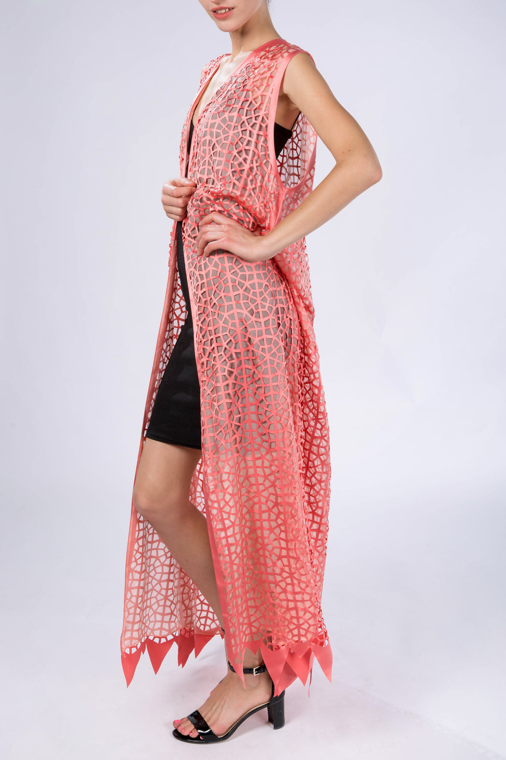 "Kaftan without sleeves ""Light Modern Vitrage"", Salmon Orange, side view"