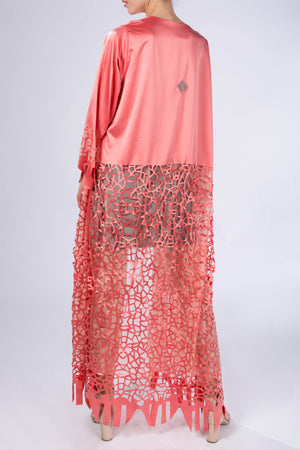 Kaftan Modern Vitrage, Salmon orange, back