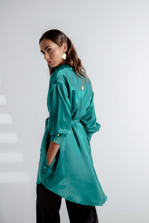BELTED SILK SHIRT EMERALD GREEN