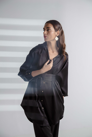 BELTED SILK SHIRT BASIC BLACK
