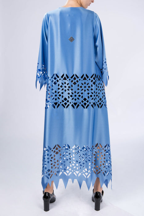 Kaftan with sleeves, abaya, Arabian Sea, back view
